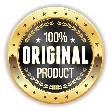 Black 100% Original Product Button With Gold Border