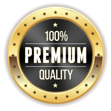 Black 100% Premium Quality Button With Gold Border