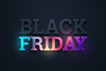 Black friday sale inscription, neon on a dark background, design template. Black friday banner. Copy space, creative background. 3D Illustration, 3D Design.