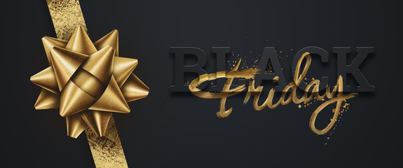 Black friday sale inscription gold letters on a black background, horizontal banner, design template. Copy space, creative background. 3D illustration, 3D design.
