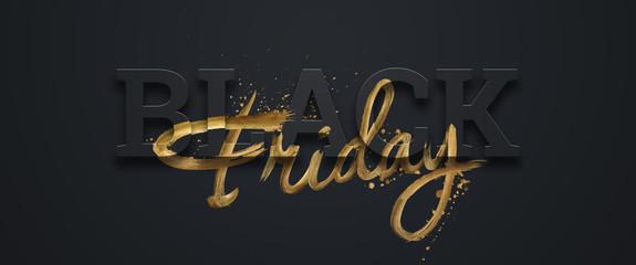 Black friday sale inscription gold letters on a black background, horizontal banner, design template. Copy space, creative background. 3D illustration, 3D design. Fotoväggar