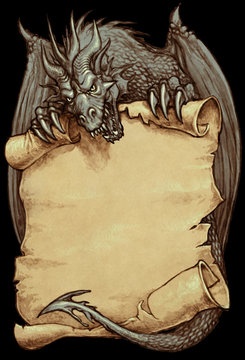 Mighty dragon holding an old paper scroll