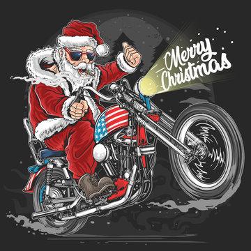 SANTA CLAUS CHRISTMAS USA AMERICA TOUR BIKER MOTORCYCLE, MOTORBIKE, COOPER ARTWORK