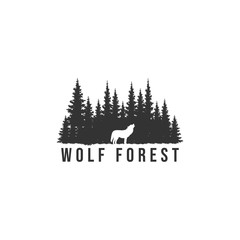 SILHOUETTES OF WOLF AND PINE FOREST VECTOR ILLUSTRATION