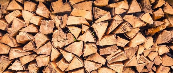 Foto auf AluDibond Brennholz-textur Hintergrund Panorama Stapel Feuerholz