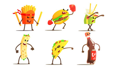 Fast Food Dishes Funny Characters Fighting Set, French Fries, Taco, Burger, Burrito, Soda Drink Vector Illustration
