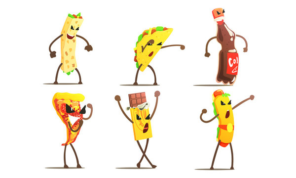 Fast Food Dishes Funny Characters Fighting Set, Pizza, Taco, Hot Dog, Burrito, Chocolate Bar, Soda Drink Vector Illustration