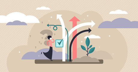 Decision making vector illustration. Tiny choose options persons concept.