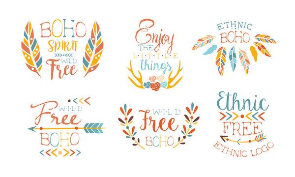 Enjoy the Little Things Hand Drawn Badges Set, Boho Spirit Wild Free, Ethnic Logo Templates Vector Illustration