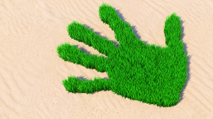 Concept or conceptual green grass handprint on sand background. A metaphor for ecology, environment, recycle, nature conservation, spring summer or protection against global warming 3d illustration