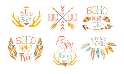 Foto auf AluDibond Boho-Stil Enjoy the Little Things Hand Drawn Badges Set, Boho Spirit Wild Free, Dream on, Ethnic Boho Logo Templates Vector Illustration