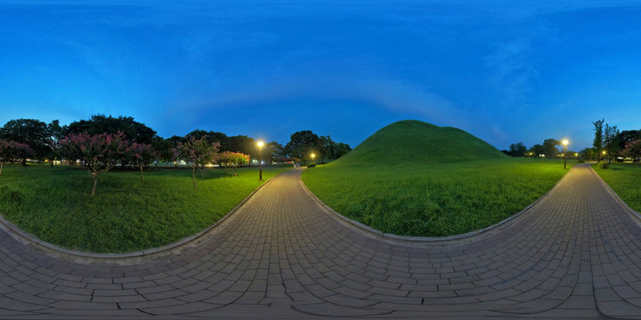 Gyeongju, South Korea 26 August 2019: Daereungwon Ancient Tomb Complex_360 Degrees Panoramic view. Large ancient tombs of kings and nobles of the Silla Kingdom