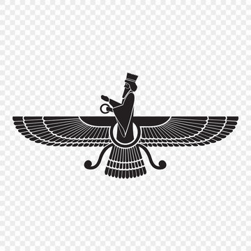 Symbol of Zoroastrianism isolated