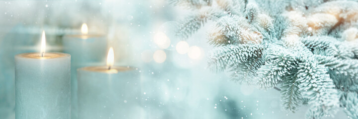 Winter scene background with candles