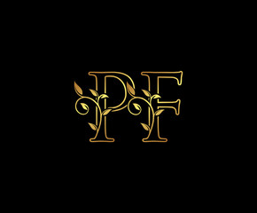 Initial letter P and F, PF, Gold Logo Icon, classy gold letter monogram logo icon suitable for boutique,restaurant, wedding service, hotel or business identity.