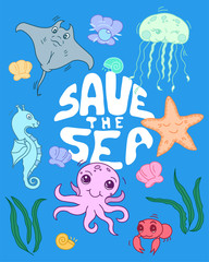 save the sea, set of cute sea creatures, kawaii cartoon drawn ocean baby animals, ecological editable vector illustration on light background