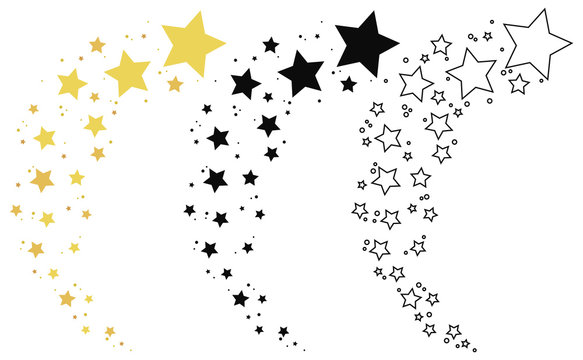 Set of shooting stars. Collection of stars silhouette. Vector illustration of a flying star. Black and white drawing. Tattoo.