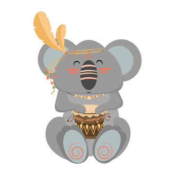 Cartoon koala indian. Vector illustration of a cute koala in a headdress with feathers. Drawing animal for children. Zoo for kids.