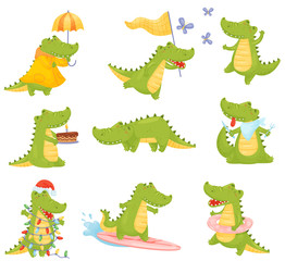 Set of cute humanized crocodiles in different situations. Vector illustration on a white background.