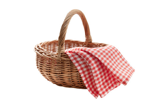 Red napkin and picnic basket isolated on white.