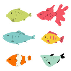 Simple fish flat vector set isolated on a white background.