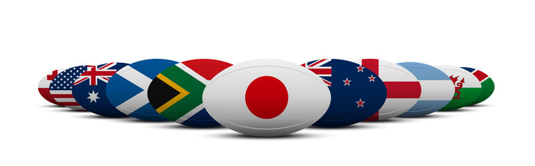 JAPAN RUGBY FLAGS BALLS