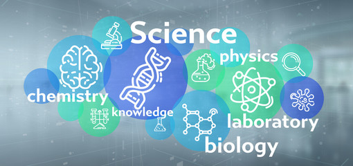 Science icons and title on a color background