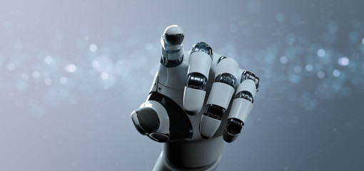 robot hand on a technologic background
