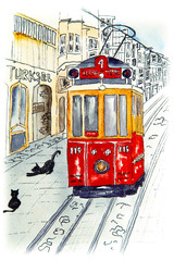 Nostalgic red retro tram on famous Istiklal street.