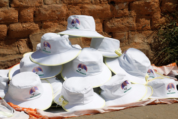 Hats depicting Pope Francis are sold on the street ahead of his visit to Madagascar, in Antananarivo