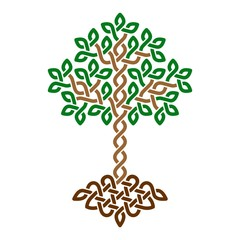 Celtic Tree of Life, simple green weaved ornament