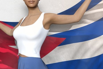 sexy girl in bright skirt holds Cuba flag in hands behind her back on the white background - flag concept 3d illustration