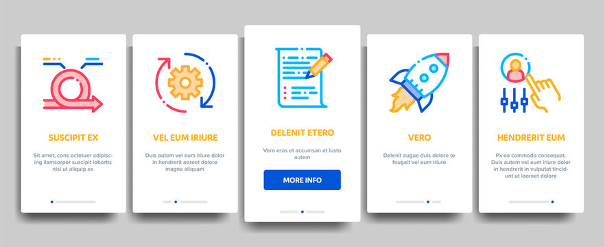 Scrum Agile Vector Onboarding Mobile App Page Screen. Illustrations