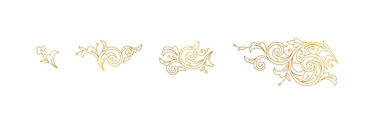 Vector line art floral gold decoration, vignettes. Arabic and Eastern motifs. Isolated line art ornaments