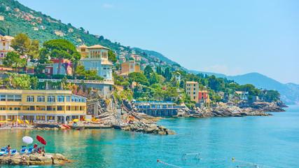 Ligurian seashore in Bogliasco near Genoa Fototapete