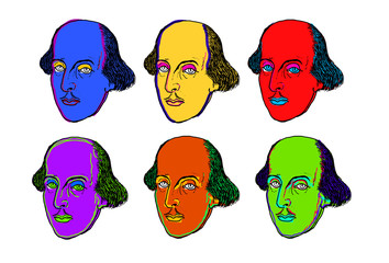 Pop art style illustration of the face of British writer William Shakespeare in different colors