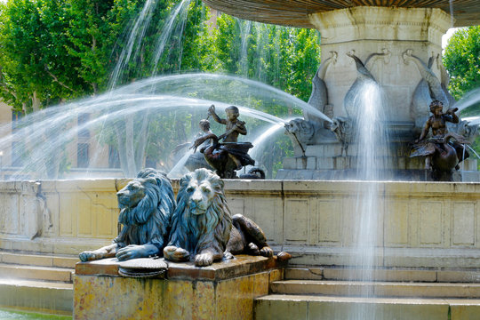 "fountain ""la rotonde"" in the city of  aix en provence -france"