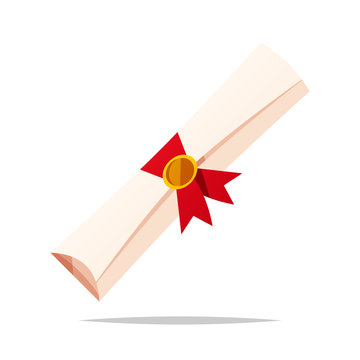 Rolled diploma vector isolated illustration