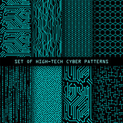 Foto op Canvas Kunstmatig Set of seamless cyber patterns. Circuit board texture. Digital high tech style vector backgrounds.