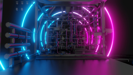 Abstract Industrial Equipment with Neon Lights