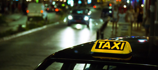 Taxi on a night city street