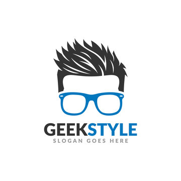 Geek style logo design template, man head with glasses and cool hair