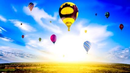 Hot Air Balloon Ride . Romance of the flight . Hot Air Balloon Ride . Hot air balloons flies in blue sky