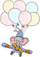 Little elephant flying on airplane with balloons