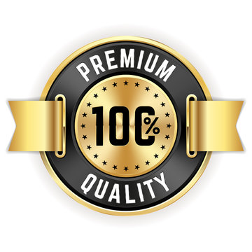 Gold 100% Premium Quality Badge With Ribbon