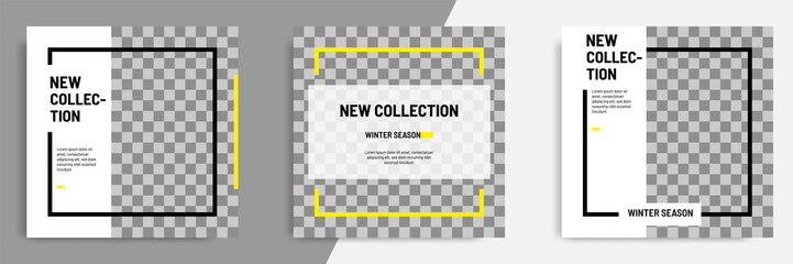 Minimal layout square banner in black yellow frame color. Editable geometric banner template for social media post, stories, story, flyer.
