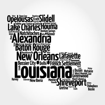 List of cities and municipalities in Louisiana USA state, map silhouette word cloud map concept