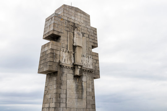 Pointe de Pen-Hir, France, monument to the Britons of Free France at a promontory on the Crozon peninsula