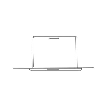 continuous line drawing of laptop. isolated sketch drawing of laptop line concept. outline thin stroke vector illustration