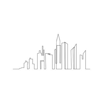 continuous line drawing of big city. isolated sketch drawing of big city line concept. outline thin stroke vector illustration
